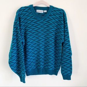 Vintage Oversized Blue Graphic Grandpa Sweater M